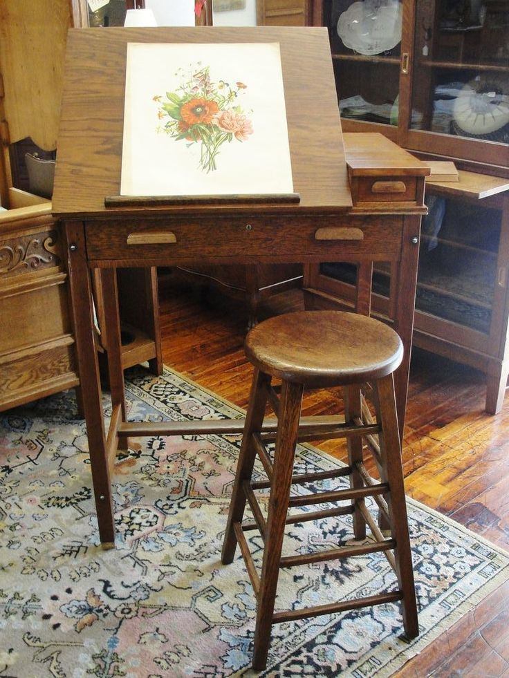 Oak Artist Drawing / Drafting Table Or Desk With Adjustable Top $695