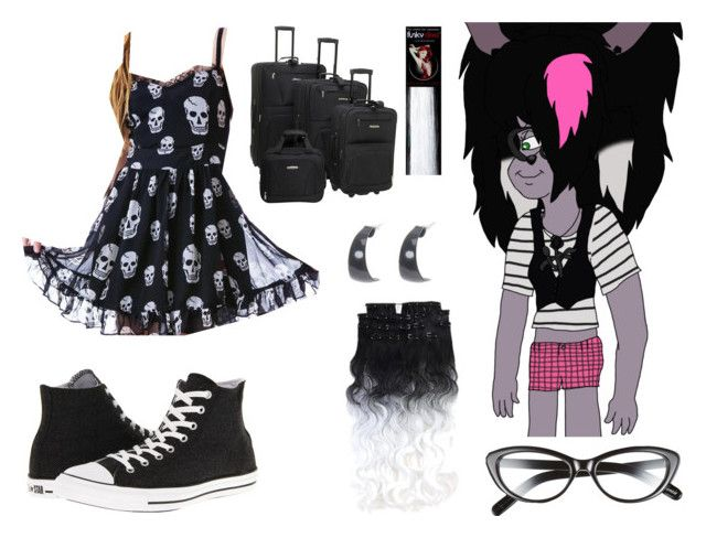 """Shenzi All Grown Up Announcement"" by brainyxbat ❤ liked on Polyvore featuring Elizabeth and James, Tripp, Converse, claire's and Rockland Luggage"