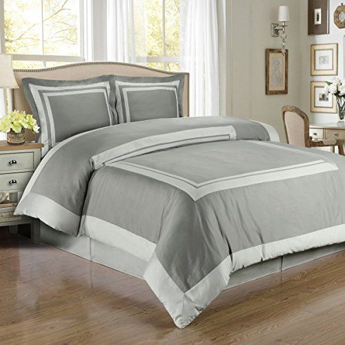 Hotel Gray and Light Gray 3-Piece King / Cal-King Duvet-Cover-Set 100-Percent Cotton 300-Thread-Count