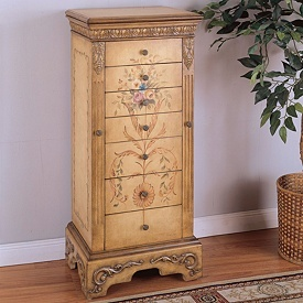 Powell Furniture Masterpiece Hand Painted Jewelry Armoire In Antique  Parchment