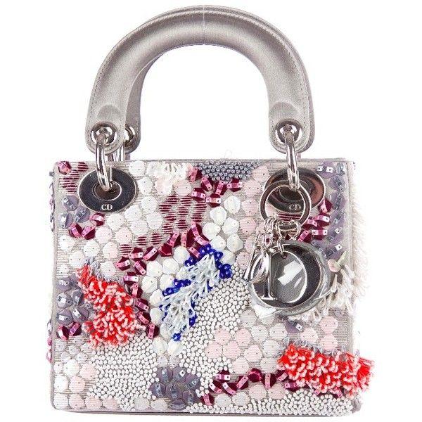 Christian Dior Mini Lady Dior found on Polyvore featuring bags, handbags, purses, сумки, beaded bag, christian dior, satin purse, sequin purse and white bags