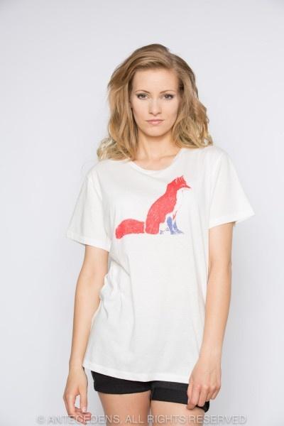 MASION KITSUNÉ Fox Print - Weiß/Rot, T-Shirt, Unisex @ antecedens.de