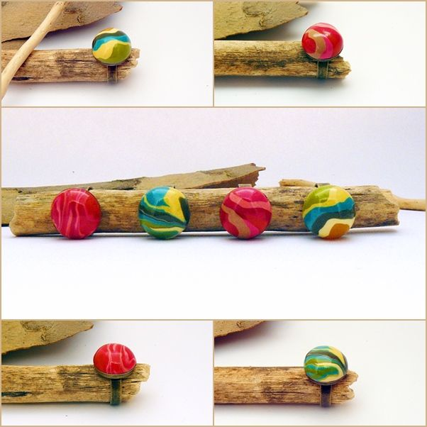 színes gyűrűk süthető gyurmából / colorful polymer clay rings