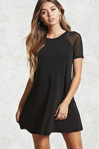 Mesh Sleeve T-Shirt Dress
