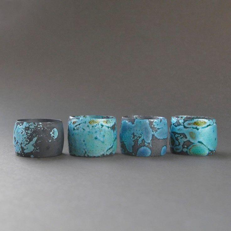 Irene Weinz, Blue Water, rings  Sterling silver rings with blue enamel, oxidized.  2013