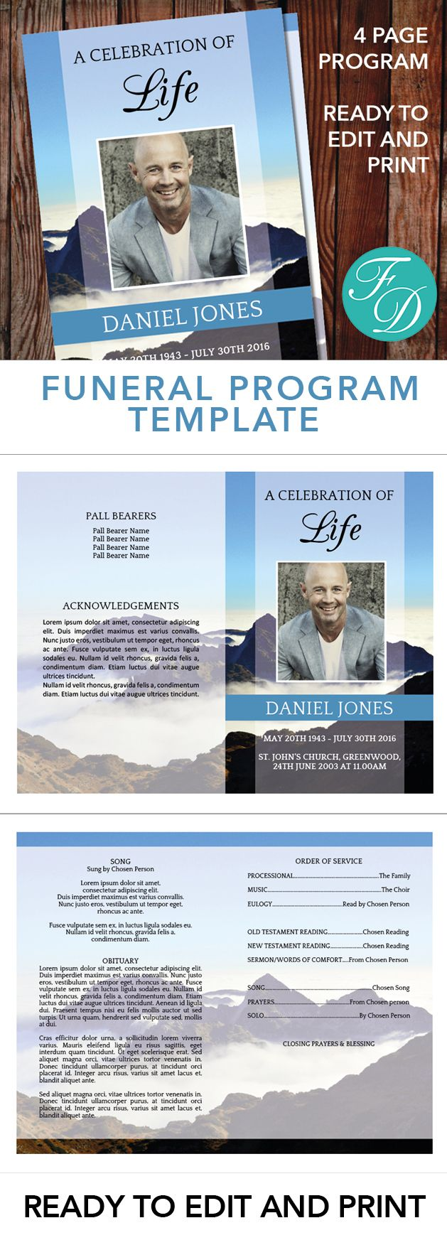 Mountain Printable Funeral program ready to edit & print. Simply purchase your funeral templates, download, edit with Microsoft Word and print. #obituarytemplate #memorialprogram #funeralprograms #funeraltemplate #printableprogram #celebrationoflife #funeralprogamtemplates