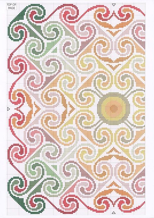 Cross-stitch Spiral Sunset, part 1... color chart on part 2