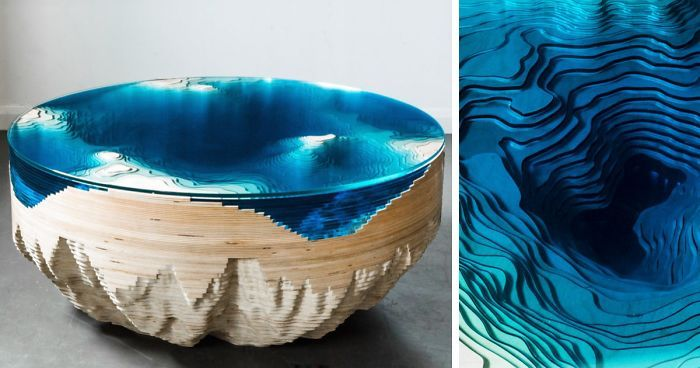 This Sea-Inspired Multilayered Table Lets You Look Into The Depths Of The Ocean | Bored Panda