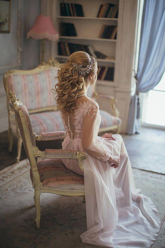 Crystal Bridal hair piece, Silver Bridal headpiece, Silver Bridal headdress, Wedding headpiece, Bridal hair piece, Wedding hair piece
