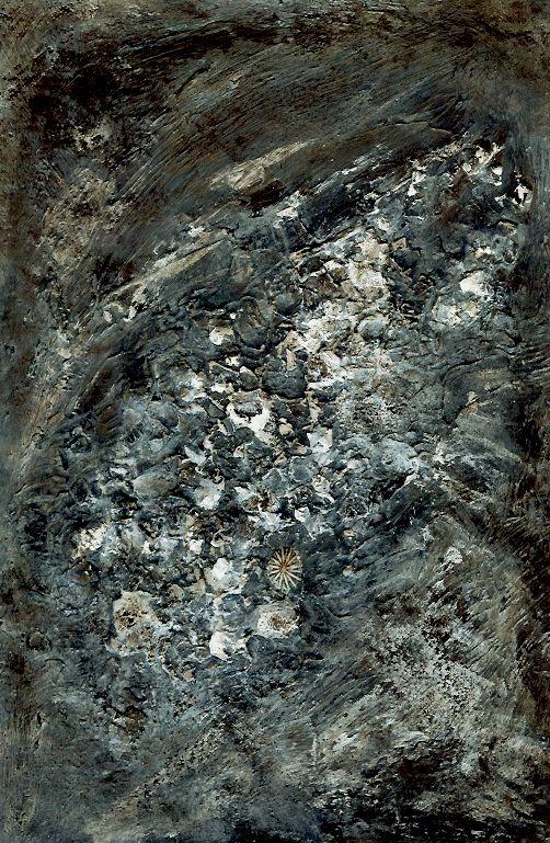 "Textural Transformations ""Limestone Coast Rocky Shore"" Margaret Hage' Acrylic, Wax medium, Found Shell: plaster and eggshells and gesso, on card. 8""x11"""