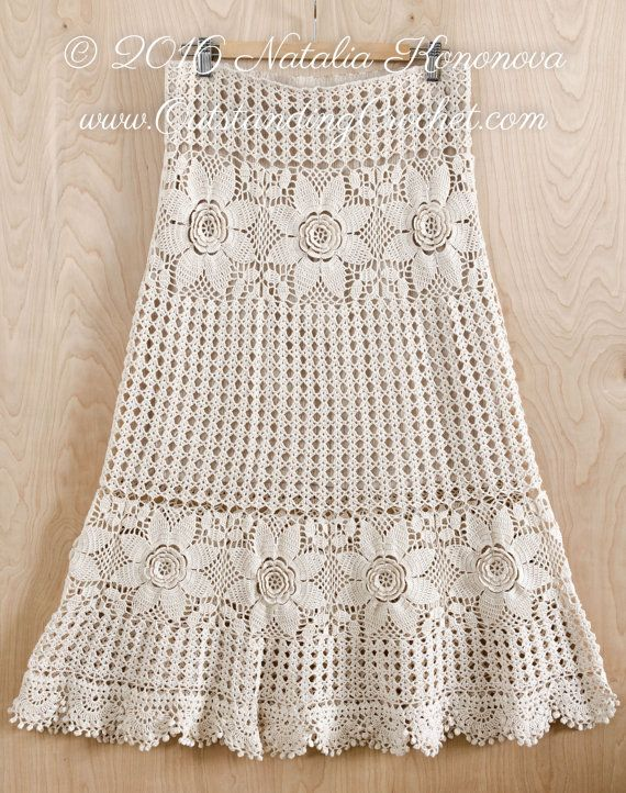 Crochet Lace Maxi Skirt Pattern Tiered Boho by OutstandingCrochet