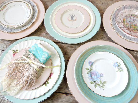 RESERVED ... Turquoise and Pinks, Dinner Plates, Salad and Dessert Plates, mismatched set of 15, Royal Albert, Barratt's, Royal Splendor