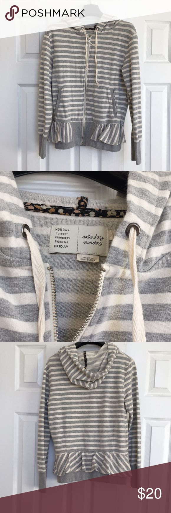 Anthropologie Striped Zip Up Hoodie Anthropologie zip up hoodie by Saturday Sunday. Gray and white striped with an adorable ruffle along the bottom. Like new condition. Anthropologie Jackets & Coats