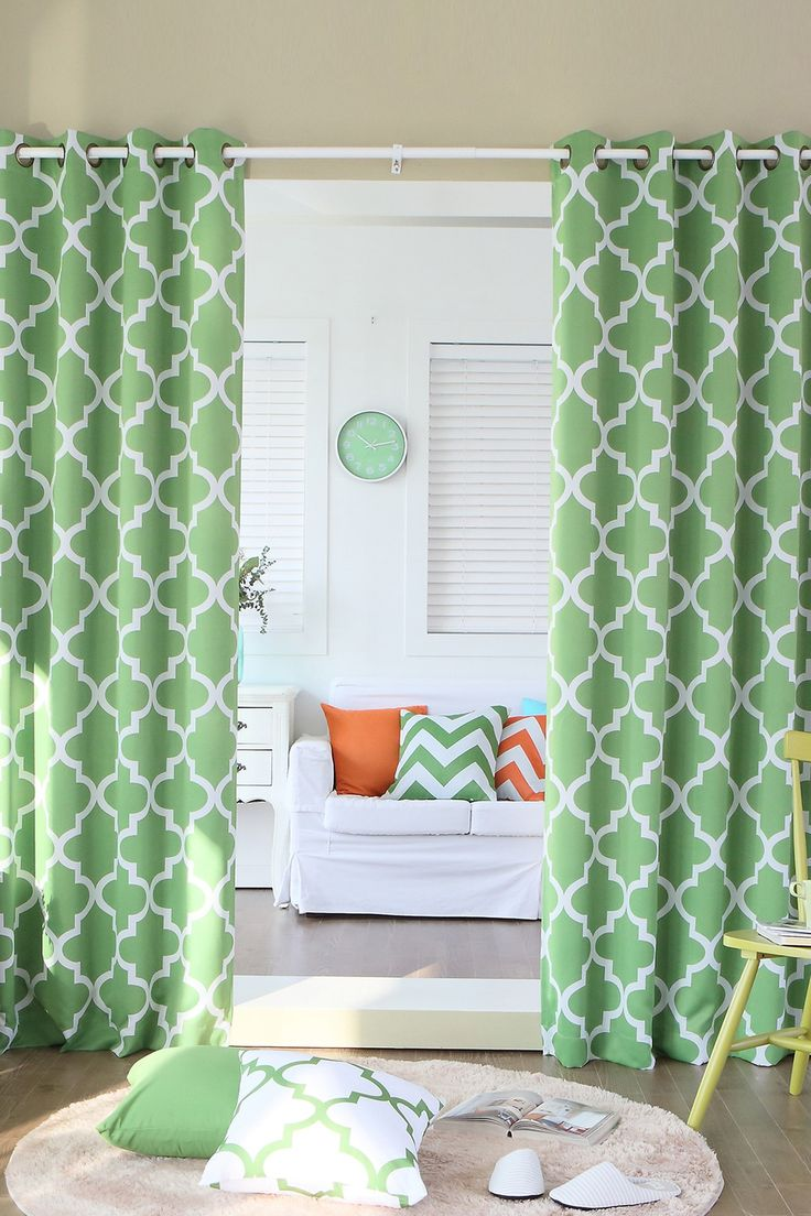 Moroccan Tile Printed Room Darkening Grommet Curtains - Green on @HauteLook