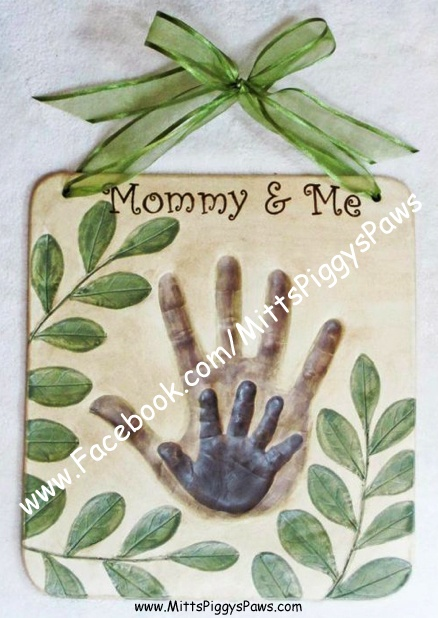 """Mommy & Me Ceramic Handprint, Baby Hand & Feet Impression.  GREAT idea for Mother's Day or Father's Day too!  ==>>>This picture has gone viral on Facebook & Pinterest as a """"salt-dough"""" creation. I am the artist who created this plaque and it is being used falsely and without my permission.  """"LIKE"""" my FB page to view more designs: www.Facebook.com/MittsPiggysPaws or my website: www.MittsPiggysPaws.com  MAIL ORDER AVAILABLE for all my designs. Contact me for more details…"""