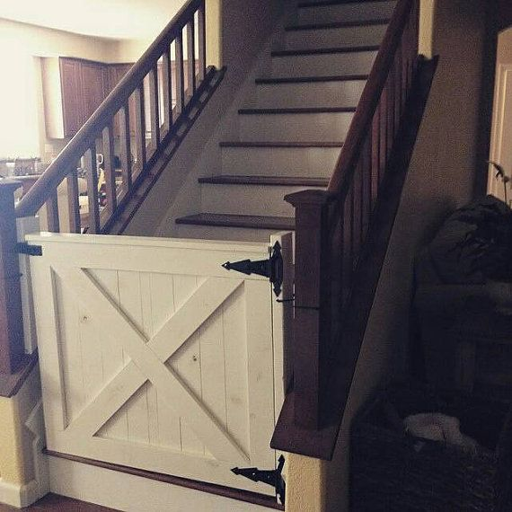 Custom baby gate for stairways with spindles. Zip ties only can be used. Make even more secure with base installation. Requires custom measurements from customer so it fits perfectly