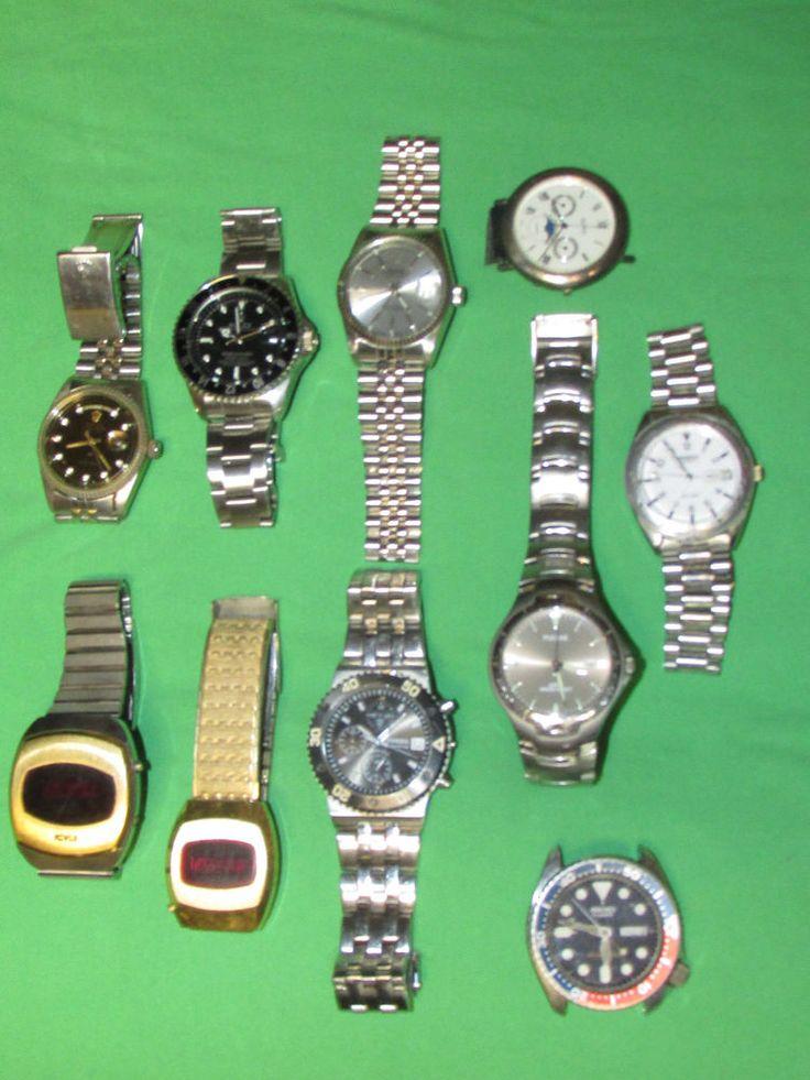 17 best ideas about vintage mens watches men s lot of 10 vintage mens watches parts repair seiko dive 150m novus led fossil