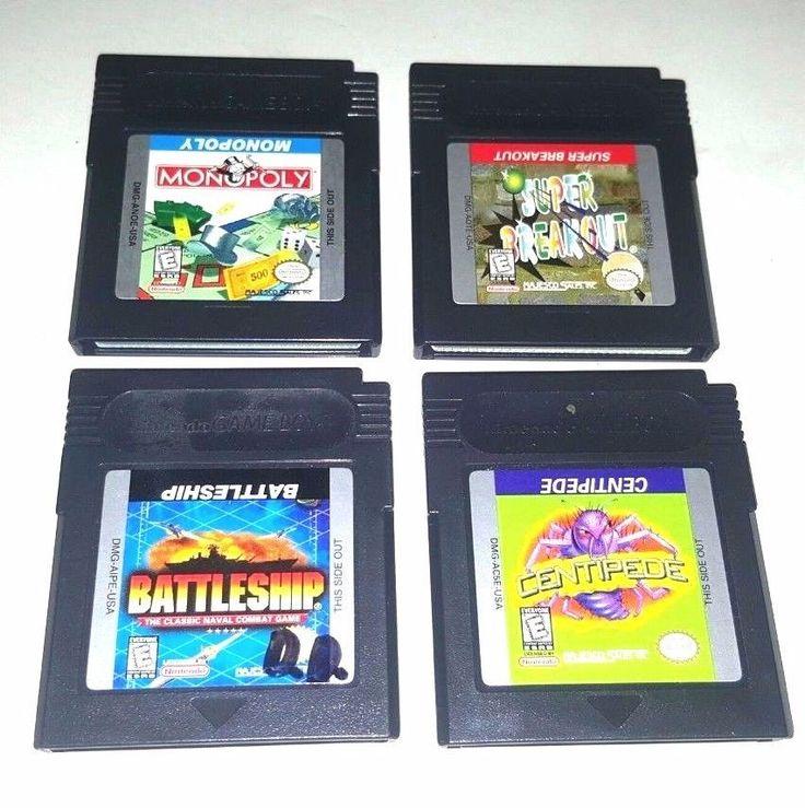 4 Gameboy Color Games Lot MONOPOLY BATTLESHIP SUPER BREAKOUT CENTIPEDE Classics