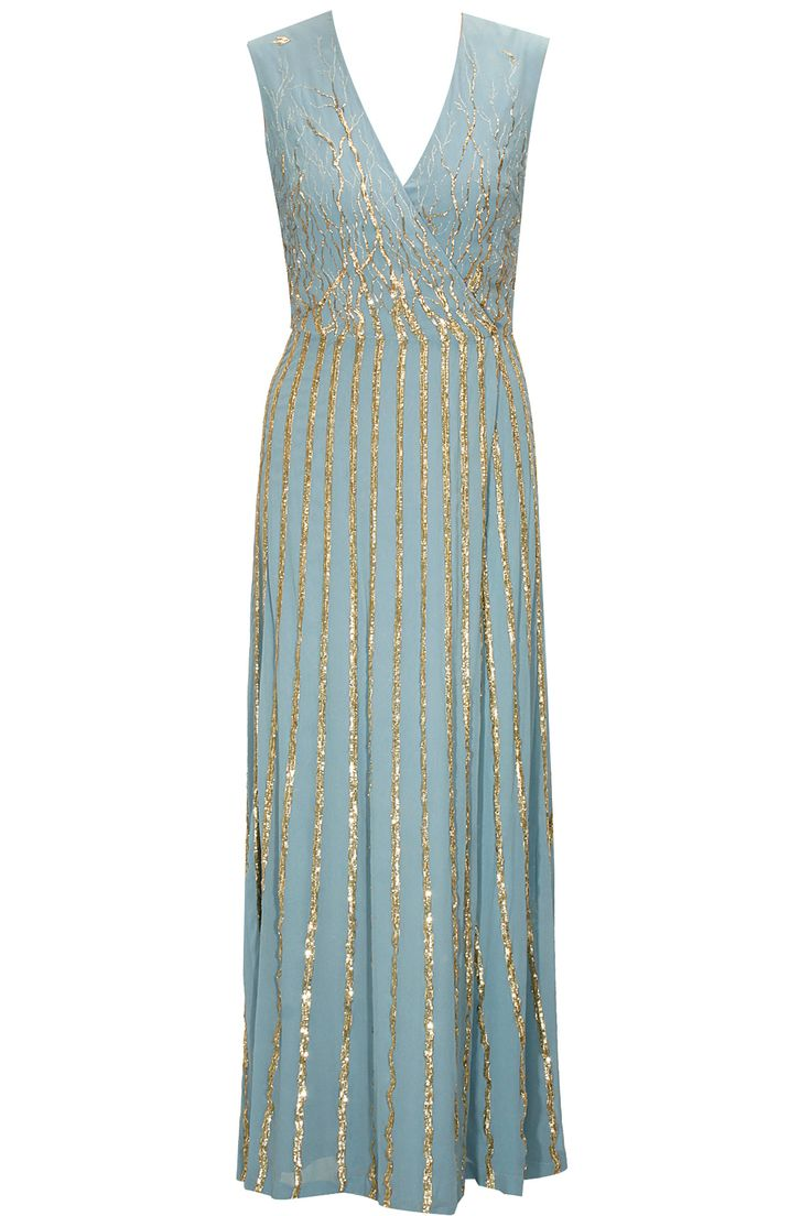 Pale blue brambles sequinned maxi dress available only at Pernia's Pop-Up Shop.