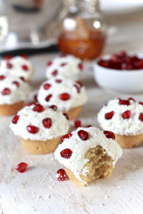 Honey & Coconut Tea Cakes with Pomegranate - by TheNoshery.com