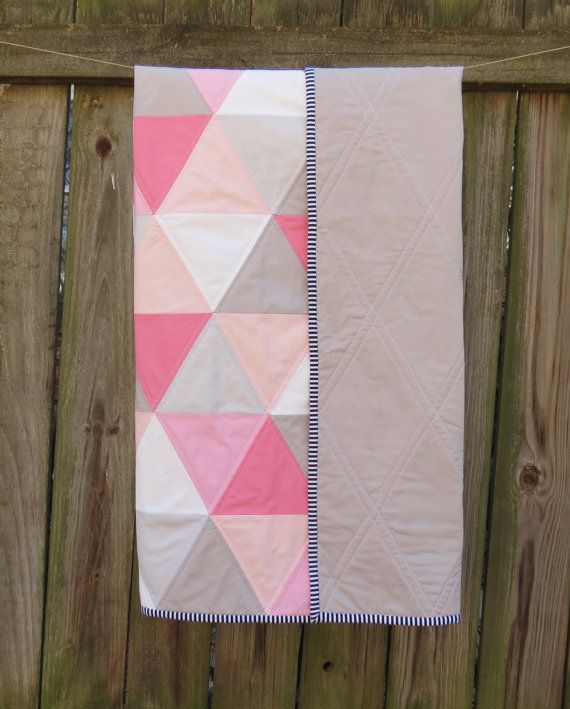 Pink Peach Grey and White Triangle Baby Quilt by TwinCityQuiltCo