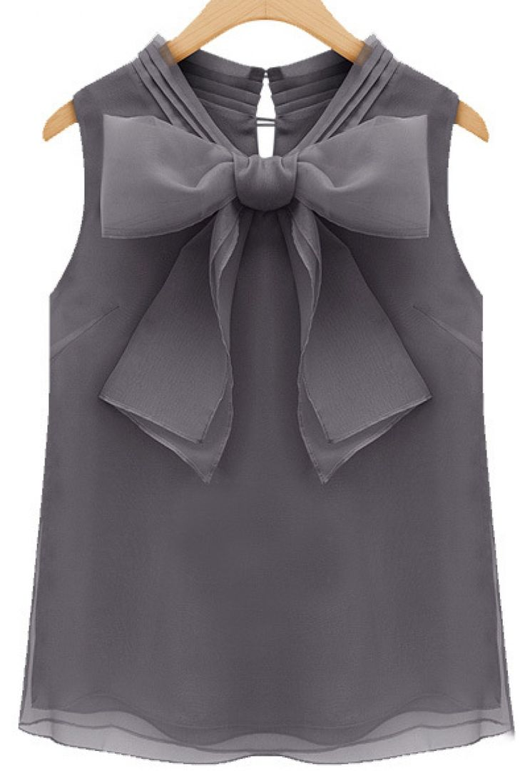 Grey Sleeveless Bow Organza Blouse