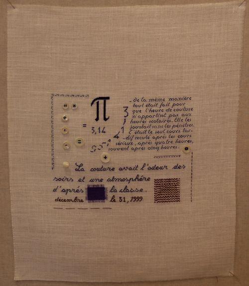 """Marie Rouanet, """"L'infini de Pi"""" """" La couture avait l' odeur des soirs et une athmosphère d' après la classe """". """" Celle-là se compliquait d'une courbe, une longue ellipse qu'il avait fallu tracer à main levée à partir d'un Kyrielle de points intermèdiaires..."""