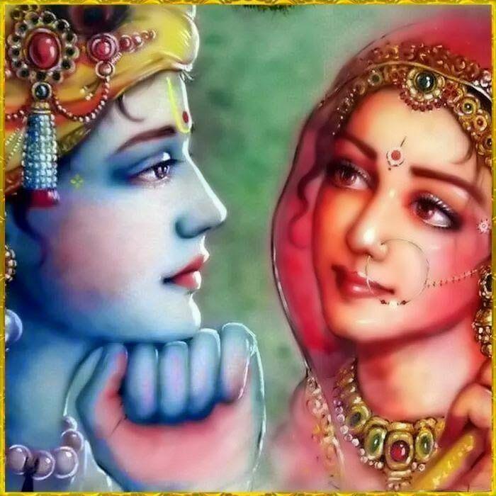 """(Mahendra Dubey artist)  Radha è l'incarnazione del """"sentimento di amore verso Krishna - rappresenta l'anima anelante verso il divino..assimilata alla dea Shakti, l energia cosmica universale,  la sua importanza si avvicina o addirittura supera quella di Krishna."""
