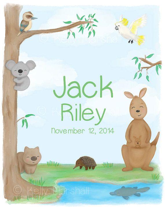 Personalised Name Print - Australian Art - Baby Artwork - Baby Art Prints - Neutral Baby Gift - Nursery Art Print - Sweet Cheeks Images