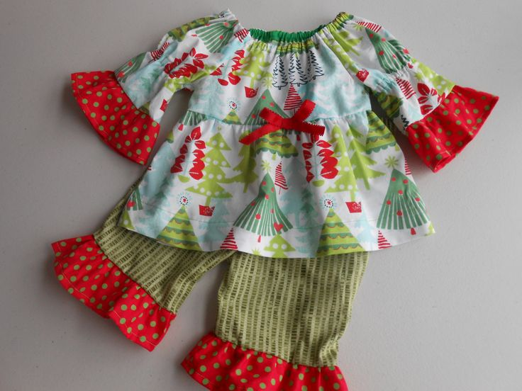 Baby Christmas Outfit, Ruffle Pants Set, Kids Christmas outfit, Girl Toddler Christmas Outfit, Baby Girl Holiday, 12 & 18 mos by DiMaDaisyBoutique on Etsy