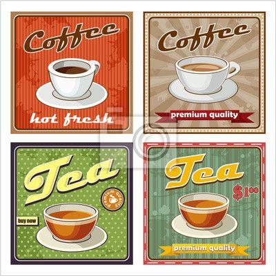 Sticker vintage koffie en thee poster. vector illustratie - illustration • pixers.nl