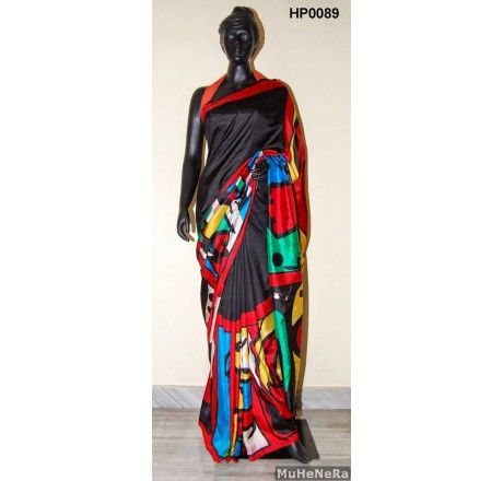 Special Hand Painted Saree The painting on the saree is inspired by the painting of ALEXANDER CALDER ONLY on www.muhenera.com