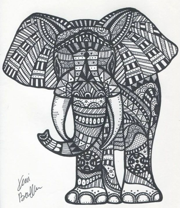 free zentangle elephant coloring pages - photo#19