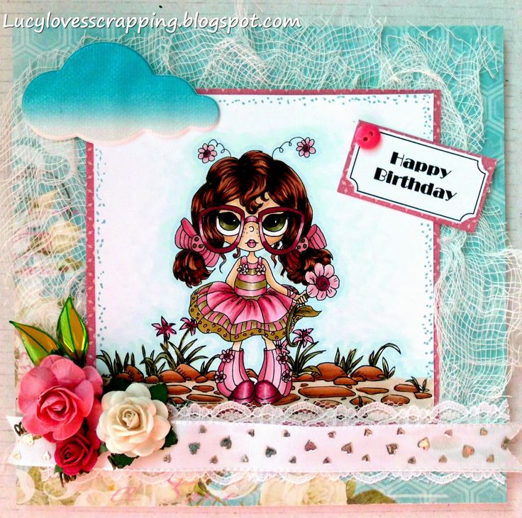 Lucy loves scrapping: Lacy Sunshine digi stamp handmade hand colored girly card