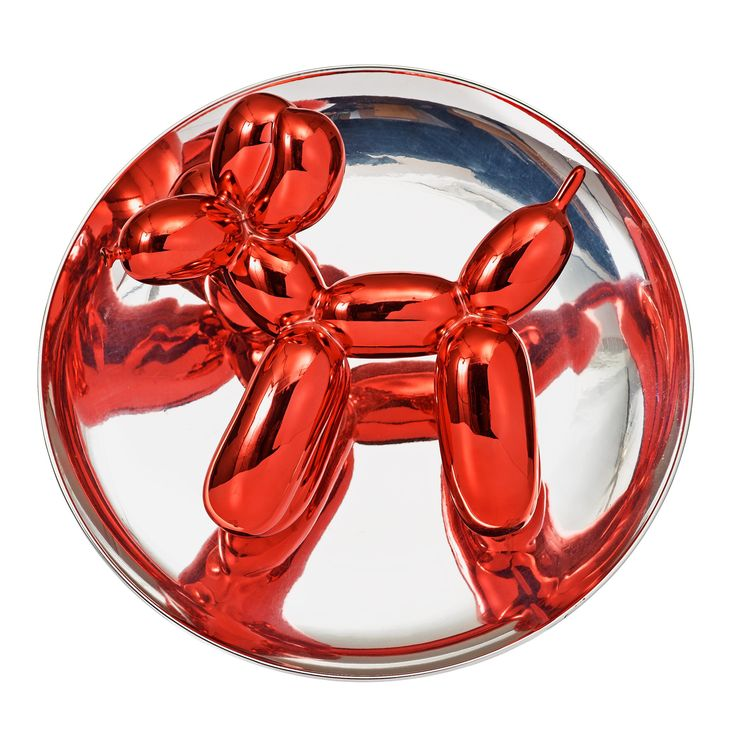 """JEFF KOONS, """"BALLOON DOG"""". Executed in 1995. Edition 746/2300. Porcelain. Diameter 27 cm."""
