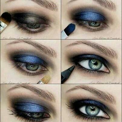 Maquillaje de ojos, tonos azul y negro difuminados