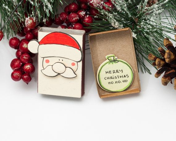 Christmas Card - Funny Fat Santa / Holiday Card/ New Year Card Matchbox/ Small Gift box/ Merry Christmas Ho Ho Ho