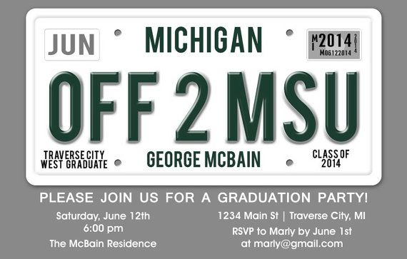 License Plate Graduation Party Invitations - DIY Printable Digital Card