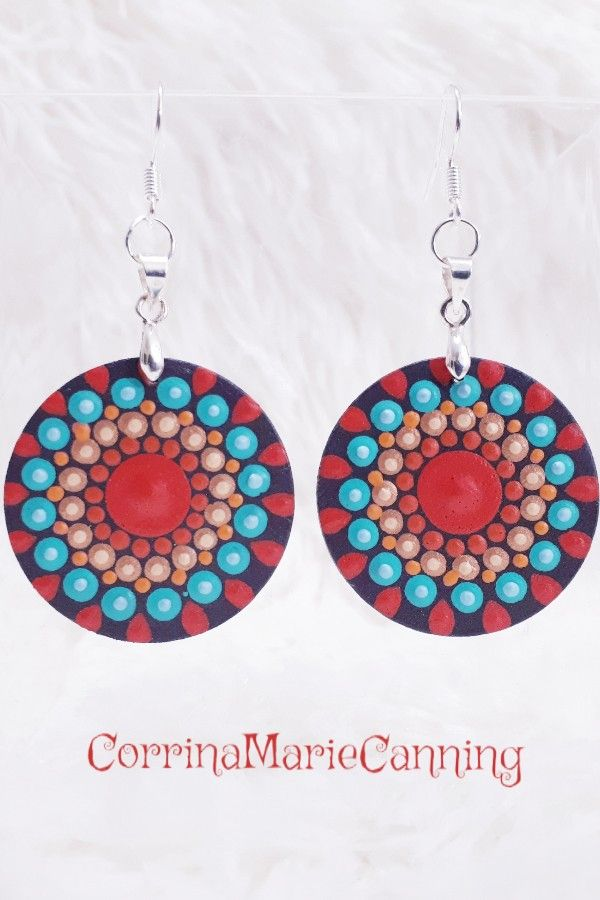 Mandala Earrings Handpainted On 3 Cm Wooden Discs With Sterling