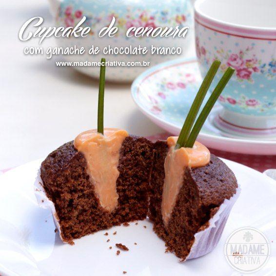 Cute Easter Cupcake - Cupcake de chocolate e cenoura com cenoura de ganache plantada - Receita para Pascoa #easter #pascoa #cupcake #cutecupcake #carrots - Madame Criativa
