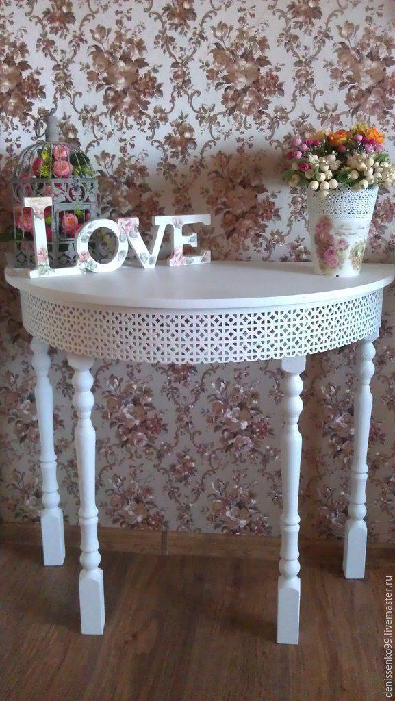 Купить консольный столик - белый, столик, стол, туалетный столик, кружево, дсп, дерево