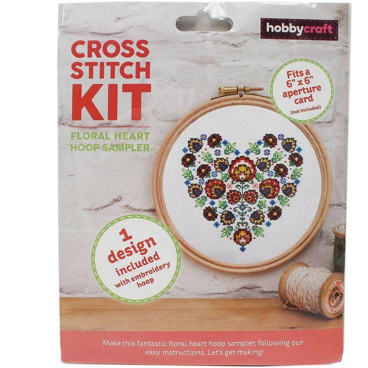 Floral Heart Cross Stitch Hoop Kit | Hobbycraft
