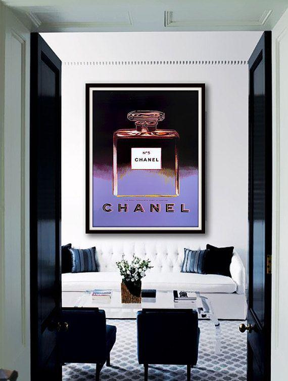 Zwarte Violet Chanel No.5 parfum Poster AFDRUKBAAR door Dantell