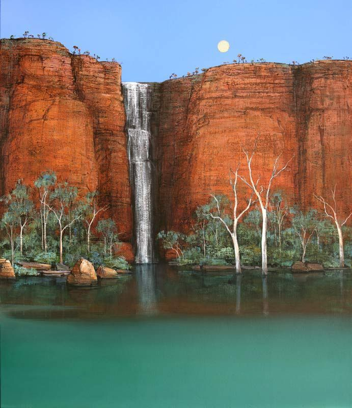 Ingrid Windram - Wet Season Waterfall - Kimberley - Silver Moon - Painting