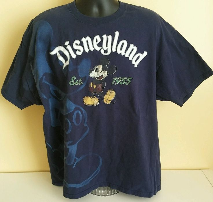 Mickey Mouse Blue Tee Shirt Disneyland Store XXL 2X Distressed Blue Shade #DisneyStores #GraphicTee
