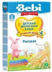 БЕБИ Премиум Рисовая молочная каша с 4 мес 200г  — 136р. ------- Молочная рисовая каша Bebi Premium    Детская молочная рисовая каша является источником углеводов, клетчатки, полезных микроэлементов. Может использоваться для начала прикорма. Молочная рисовая каша Bebi Premium обогащена 12 витаминами и полезными микроэлементами, в том числе железом и йодом.     Продукт может использоваться у детей с 4 месяцев.      Масса нетто: 250 г.     Способ приготовления   Рисовая молочная каша «Беби…