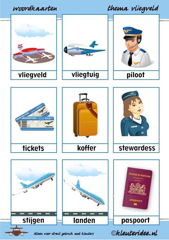 Woordkaarten bij thema vliegveld voor kleuters, juf Petra van kleuteridee, free printable.