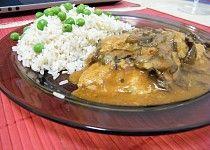 Sojové maso na houbách s rýží