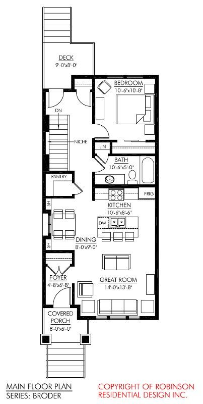 like a shotgun house, room for dining too