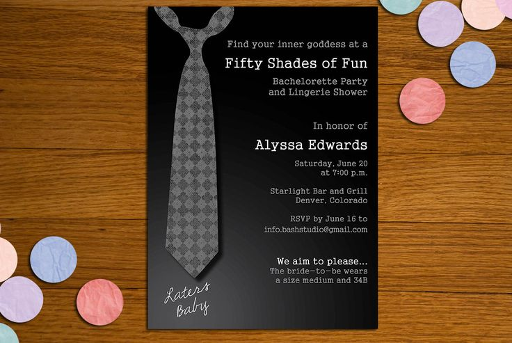 OMG ARE YOU SERIOUS?!! SO CUTE!!! 50 Shades of Grey Printable Invitation - Bachelorette Party, Lingerie Shower. via Etsy.